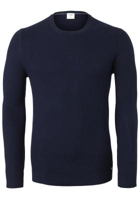OLYMP Level 5 body fit trui katoen, O-hals, navy blauw structuur