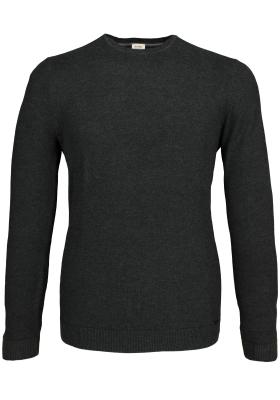 OLYMP Level 5 heren trui katoen, O-hals, antraciet grijs structuur (Slim Fit)