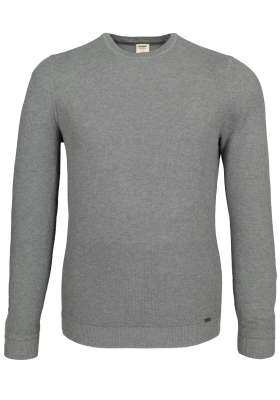 OLYMP Level 5 heren trui katoen, O-hals, grijs structuur (Slim Fit)