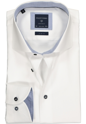 Profuomo Slim Fit overhemd, wit twill (contrast)