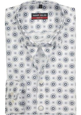 MARVELIS Body Fit overhemd, mouwlengte 7, wit, blauw en bruin gebloemd