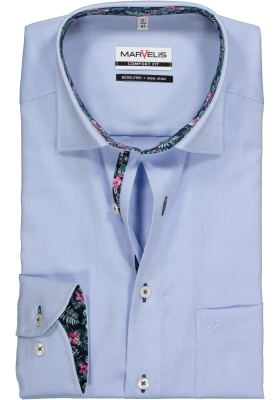 MARVELIS Comfort Fit, overhemd, lichtblauw structuur (contrast)