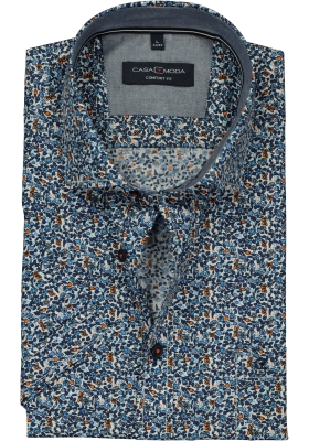 Casa Moda Sport Comfort Fit overhemd korte mouw, blauw, wit en oranje dessin (contrast)