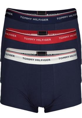 Tommy Hilfiger low rise trunk (3-pack), lage heren boxers kort, blauw met 3 kleuren tailleband