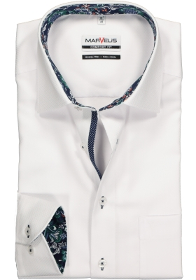 MARVELIS Comfort Fit, overhemd, wit structuur (contrast)