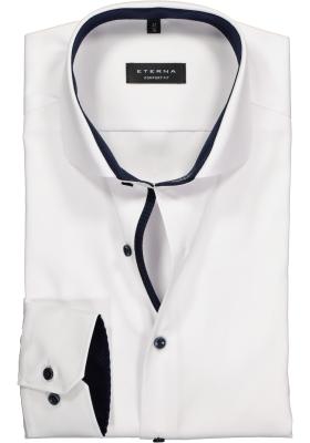 ETERNA comfort fit overhemd, niet doorschijnend twill heren overhemd, wit (blauw contrast)