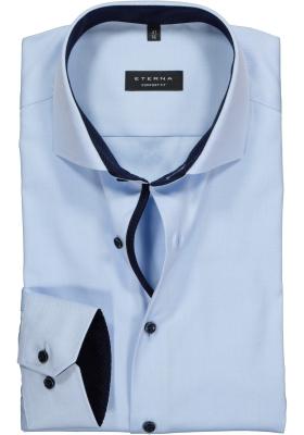 ETERNA comfort fit overhemd, niet doorschijnend twill heren overhemd, lichtblauw (blauw contrast)