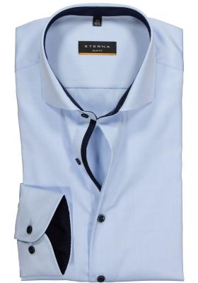 ETERNA Slim Fit overhemd ondoorzichtig, lichtblauw twill (contrast)