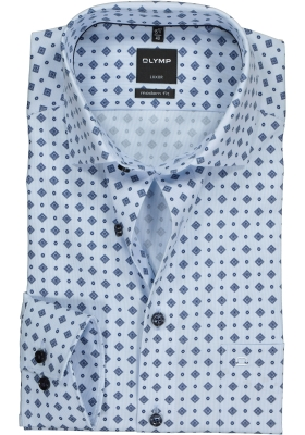 OLYMP Luxor Modern Fit overhemd, lichtblauw met dessin