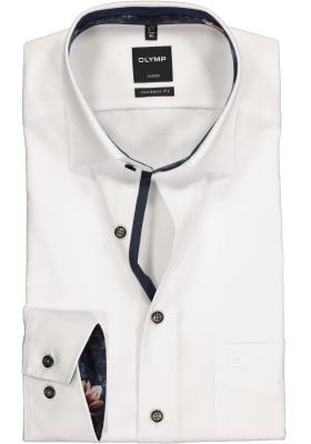 OLYMP Luxor Modern Fit overhemd mouwlengte 7, wit ingeweven structuur (contrast)