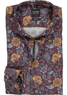 OLYMP Level 5 Body Fit overhemd mouwlengte 7, bordeaux rood gebloemd