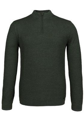 OLYMP Level 5 heren trui wol, olijfgroen structuur met rits (Slim Fit)