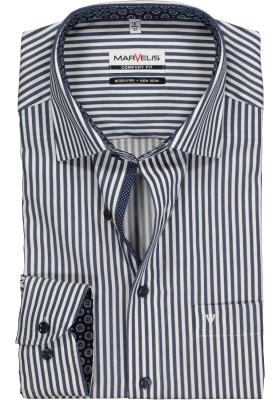 MARVELIS Comfort Fit, overhemd, blauw met wit gestreept (contrast)
