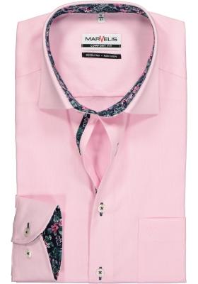 MARVELIS Comfort Fit, overhemd, roze structuur (contrast)