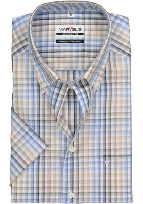 MARVELIS Comfort Fit overhemd korte mouw, geruit (contrast)