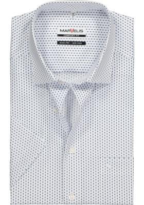 MARVELIS Comfort Fit overhemd korte mouw, wit met blauw dessin