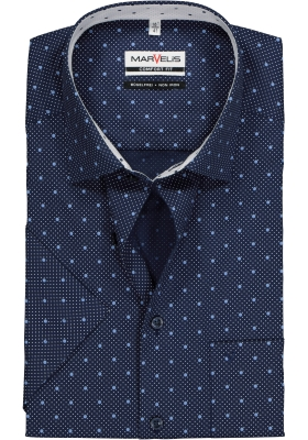 MARVELIS Comfort Fit overhemd korte mouw, blauw met wit dessin (contrast)