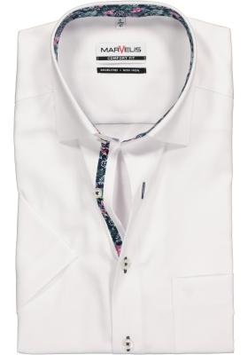 MARVELIS Comfort Fit overhemd korte mouw, wit Oxford (contrast)