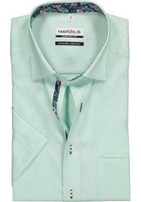 MARVELIS Comfort Fit overhemd korte mouw, groen Oxford (contrast)