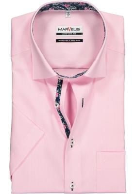 MARVELIS Comfort Fit overhemd korte mouw, roze Oxford (contrast)