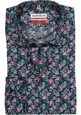 MARVELIS Modern Fit overhemd, donkerblauw gebloemd