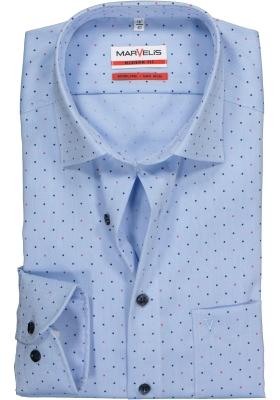 MARVELIS Modern Fit overhemd, lichtblauw gestipt structuur