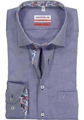 MARVELIS Modern Fit overhemd, blauw structuur (contrast)