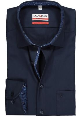 MARVELIS Modern Fit overhemd, donkerblauw (contrast)
