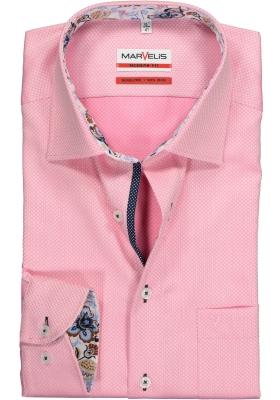 MARVELIS Modern Fit overhemd, roze structuur (contrast)