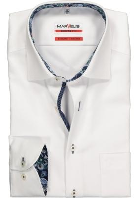 MARVELIS Modern Fit overhemd, mouwlengte 7, wit structuur (contrast)