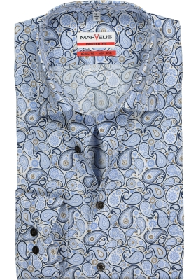 MARVELIS Modern Fit overhemd, mouwlengte 7, wit, blauw en bruin paisley dessin
