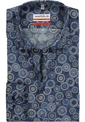 MARVELIS Modern Fit overhemd, mouwlengte 7, blauw met bruin dessin