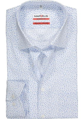 MARVELIS Modern Fit overhemd, mouwlengte 7, wit met lichtblauw mini dessin