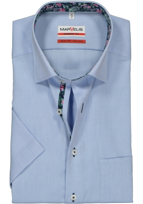 MARVELIS Modern Fit overhemd korte mouw, lichtblauw Oxford (contrast)