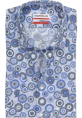 MARVELIS Modern Fit overhemd, korte mouw, blauw met wit dessin