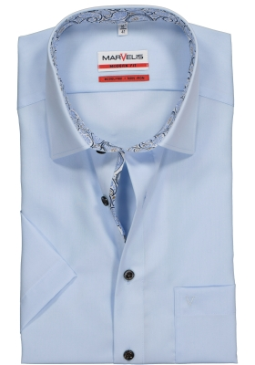 MARVELIS Modern Fit overhemd korte mouw, lichtblauw (contrast)