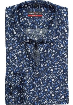 MARVELIS Body Fit overhemd, mouwlengte 7, blauw gebloemd