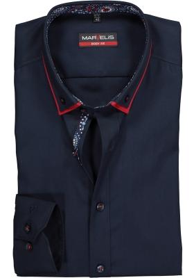 MARVELIS Body Fit overhemd, mouwlengte 7, donkerblauw met dubbele kraag (contrast)
