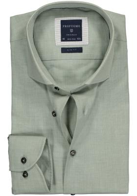 Profuomo Slim Fit overhemd, zacht groen (crêpe stof)