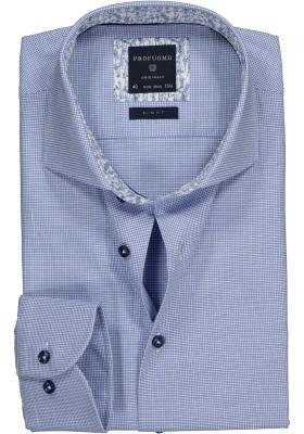 Profuomo Slim Fit overhemd,  blauw met pied de poule dessin