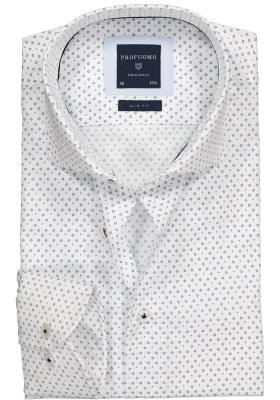 Profuomo Slim Fit overhemd, wit met blauw dessin