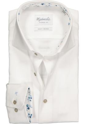 Michaelis Slim Fit overhemd, wit Oxford (contrast)