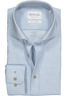 Michaelis Slim Fit overhemd, lichtblauw twill