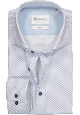Michaelis Slim Fit overhemd, blauw met wit dessin