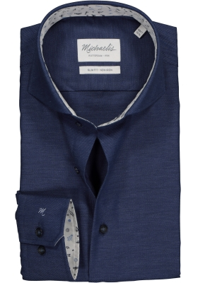 Michaelis Slim Fit overhemd, donkerblauw Oxford (contrast)