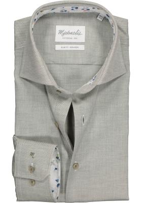 Michaelis Slim Fit overhemd, olijf groen Oxford (contrast)