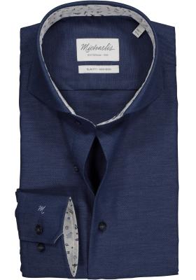 Michaelis Slim Fit overhemd mouwlengte 7, donkerblauw Oxford (contrast)