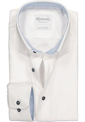 Michaelis Slim Fit overhemd mouwlengte 7, wit twill (contrast)