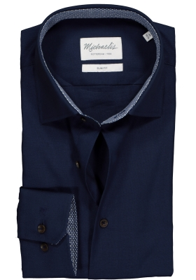 Michaelis Slim Fit overhemd, donkerblauw Oxford (contrast)