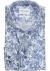 Michaelis Slim Fit overhemd, blauw met wit bloemen dessin